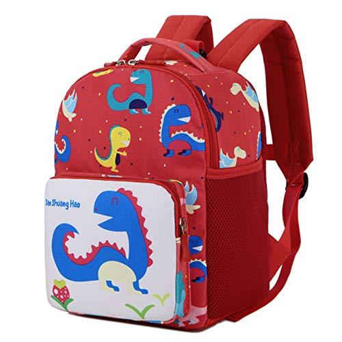 BAIGIO Mochila Infantil Kindergarten,Pequeñas Mochilas Bolsas Escolares Animales para Niñas Primaria Linda Mochila Dinosaurio 3D Guarderia Preescolar para 2-7 Años (Rojo-2)