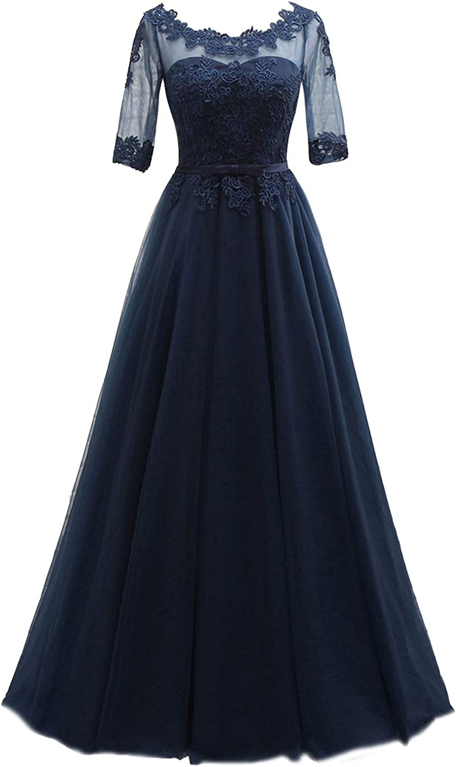 Cdress Lace Prom Dresses Long Tulle Evening Formal Gowns Appliques Wedding Party Dress Short Sleeves