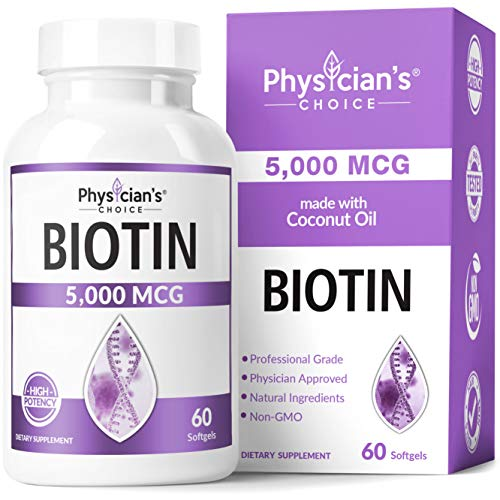 Biotin 5000 MCG - with 100% Organic Coconut Oil - Biotin Supplement to Support for Hair Growth, Nail & Skin Health - Non-GMO & Vegan Hair, Skin, and Nail Vitamins - 60 Capsules