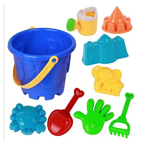 Toyvian 9 Stücke Schloss Sand Werkzeuge Strand Set Multicolor Kreative Sandform Kits mit Cartoon Formen und Eimer für Pools Hinterhof und Sandkasten (Zufällige Farbe)