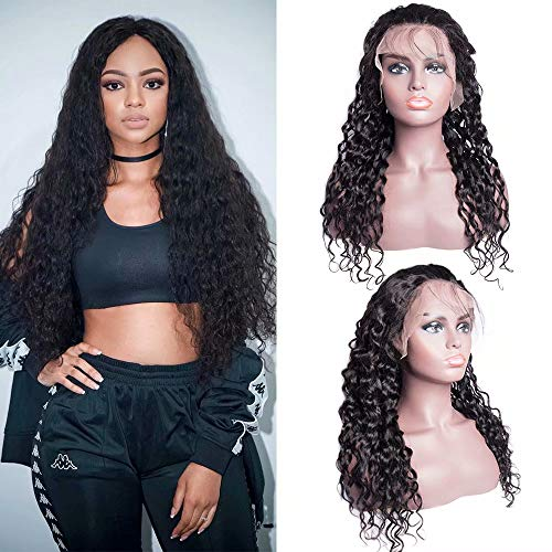 Water Wave Human Hair Lace Front Wigs 130% Density Pre Plucked with Baby Hair Brazilian Water Wave Wig for Black Women Natural color(22inch)