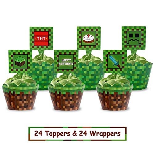 Pixel Cupcake Toppers and Wrapper Happy Birthday Party Printable Cake Decoration Block Games Inspired Supplies Set of 24