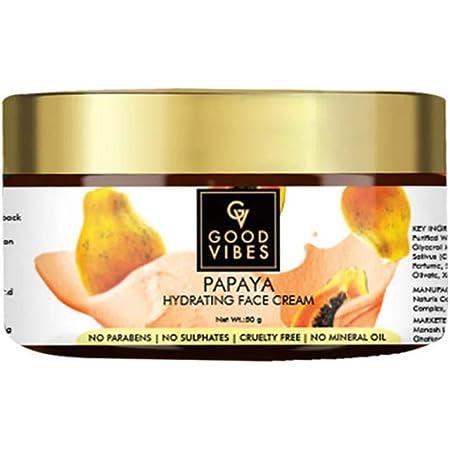 Good Vibes Papaya Hydrating Face Cream 50 g, Skin Brightening Moisturizing Light Weight Formula, Helps Reduce Dark Circles & Visibly Clears Skin, Natural, No Parabens & Sulphates, No Animal Testing