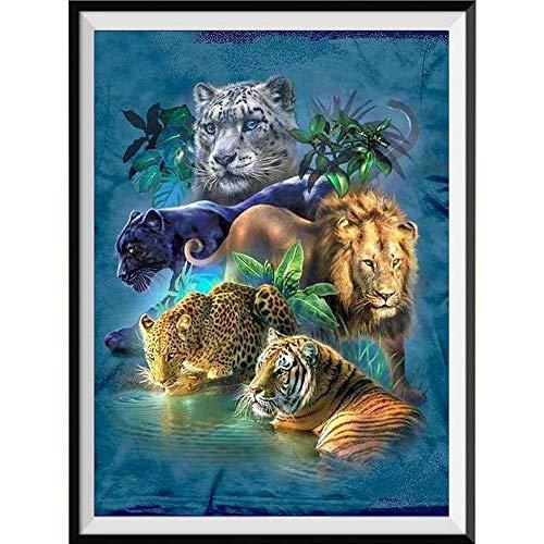 Xevkkf 5D Diamond Painting Kit Bricolaje Arte_Guepardo Tigre 40X50Cm_Punto De Cruz Ronda De Diamantes De Imitación De La Resina Bordado De Cuadros Decoración del Hogar