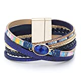 Leather Wrap Bracelets for Women, Marble Beads Boho Wrap Bracelet Magnetic Clasp Cuff Bracelet Bohemian Jewelry Gift for Women (Style 3)