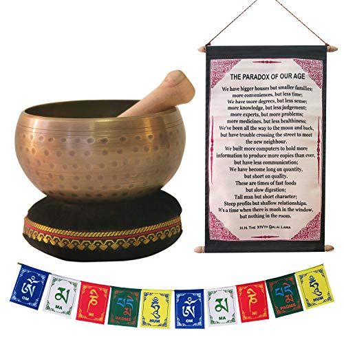 Tibetan Singing Bowl for Meditation, Healing & Yoga 4'/5'/6' Set with Mallet & Velvet Cushion, with Free Gift of Tibetan Prayer Flags & The Dalai Lama Quote Wall Art for Peace, Harmony, Stress Relief