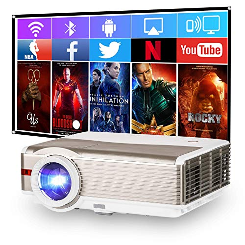 """1080P HD Projector, Home Projector with WiFi Bluetooth, 6200 Lumen 200"""" Wireless Video Projector Outdoor Movie Projector Compatible with Nintendo, TV Stick, Smartphone, Laptop, PS4, HDMI, USB, VGA, AV"""