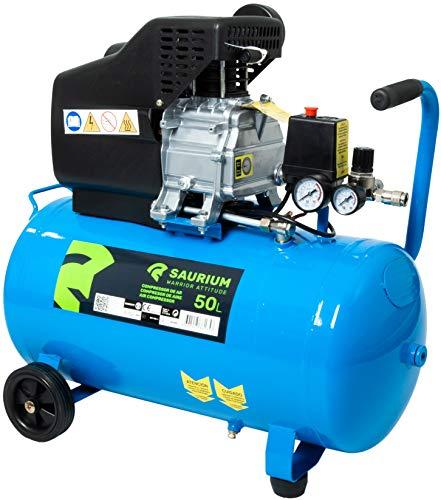Saurium 37175 Compresor de Aire Eléctrico Monofásico 50L 2HP-Saurium-37175