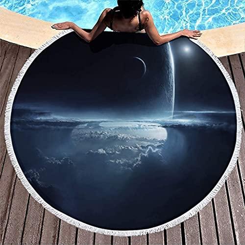 Dark Clouds Planet Sun Sky Space Print Toalla de Playa Redonda de Microfibra con borlas Fantasy Fringe Sleeping Throw 59 Pulgadas