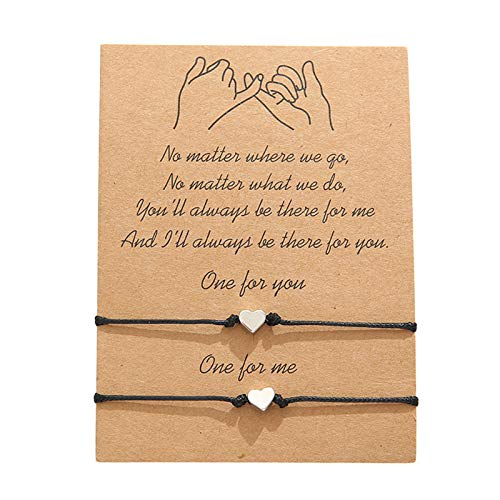 AILUOR Pulseras de amistad con girasol, de 2 piezas, ideal como regalo de cumpleaños para parejas, hermanas, madres, hijas, novios, novios y adolescentes Adjustable