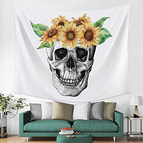 Tapiz de esqueleto de calavera para colgar en la pared, 101,6 x 152,4 cm, diseño de calavera y girasol, para dormitorio, sala de estar, universidad
