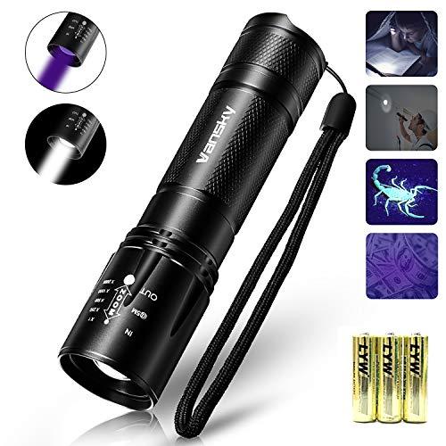 Vansky 2 in 1 uv Taschenlampe | 395nm Schwarzlicht und Weißes Licht LED Taschenlampe | 4 Modi | 800lm | Detektor für unechte Banknoten, Urin von Hunde, Katzen und andere Haustiere | Inkl. Batterien