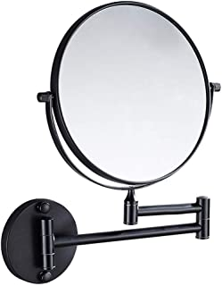 Cosmetic Vanity Mirror Nordic Beauty Mirror Bathroom Black Mirror Wall Mounted 8-inch Cosmetic Mirror Folding 3 Times Magnifying Glass 5CD1 (Color : Black, Size : 8 inches 3X)