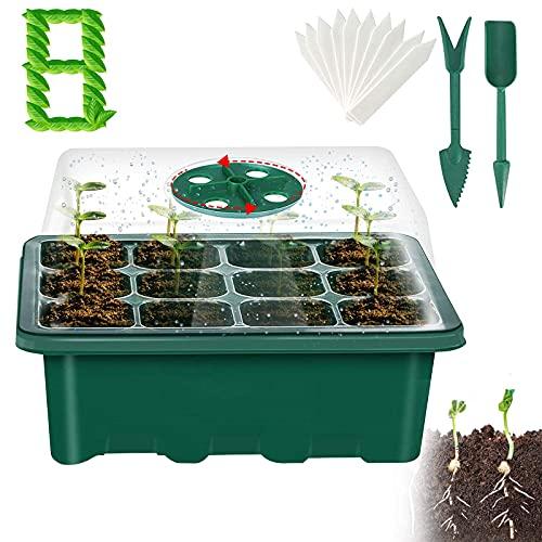 ELEWELT 8 Stück Mini Gewächshaus Anzucht, 96 Löchern Anzucht Gewächshaus, Zimmergewächshaus Anzuchtset mit 2 Gartengeräte Klein und 10 Pflanzenetikett, für Pflanzenkeimung und Gewächshaus Anzucht
