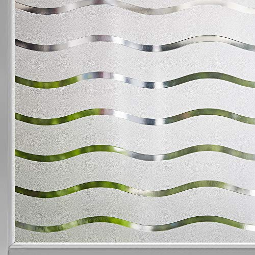 LEMON CLOUD Welle Blickdicht Fensterfolie Fensterfolie statisch haftend Sichtschutzfolie Selbstklebend Klebefolie Milchglasfolie Fenster Folie Milchglas Dekofolie für Bad Küche Anti-UV 44.5 x 200 cm