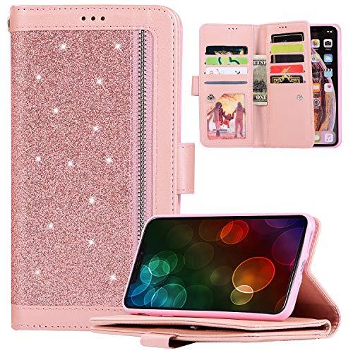 Glitter PU lederen portemonnee standaard telefoonhoesje compatibel met Galaxy A71, JAWSEU Bling Sparkly voor- en achterkant met 9 kaartsleuven magnetische flip folio schokbestendig hoesje voor Galaxy A71, roségoud