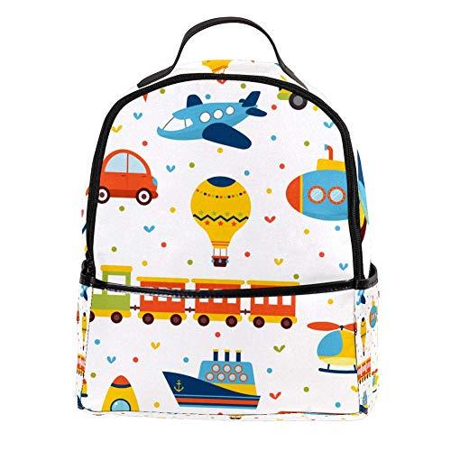 TIZORAX Trein Vliegtuig Auto en Bus Speelgoed Laptop Rugzak Casual Schouder Daypack voor Student School Tas Handtas - Lichtgewicht