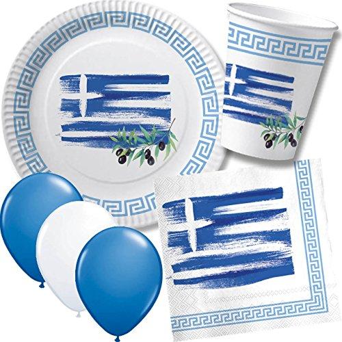 DH-Konzept/CARPETA 52-TLG. Party-Set * GRIECHENLAND * mit Pappteller + Servietten + Pappbecher + Luftballons für Kindergeburtstag // Teller Becher Servietten Party Geschirr Deko Geburtstag Mottoparty