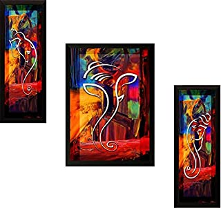 PAF Ganesha 3 Set Wall Hanging for Home décor Painting Wall Art Print Framed Painting for Home Decor & Gift Item – Size 35...