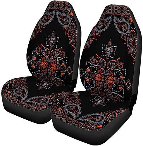 Set van 2 Autostoelhoezen Biker Classy Bandana Rood En Zwart Helder Patroon Paisley Universele Auto Voorstoelen Beschermer Past Voor Auto
