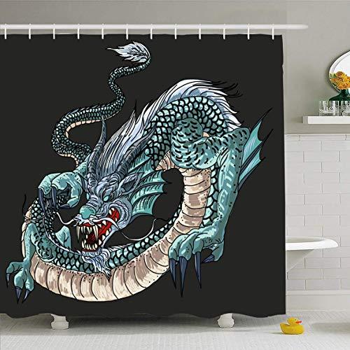 N/A Duschvorhang 182,9 x 182,9 cm Asiatisch Rot Blau Drache Malerei Tattoo Muster Wasser abstrakt Asien Design Koi wasserdichte Polyester Stoff Badezimmer Set mit Haken