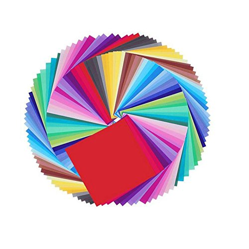 Doitsa Origami Farbmuster Faltblätter Paper folding15 x 15 cm 80g/㎡,100 Blatt 50 Farben mischen
