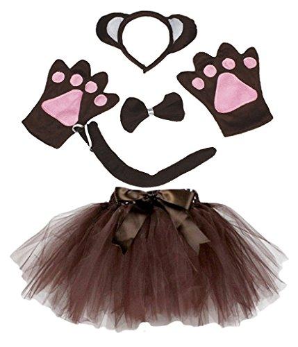 Petitebelle Diadema Bowtie Guantes de cola Tutu nia Disfraz de 5 piezas Un tamao Brown del mono