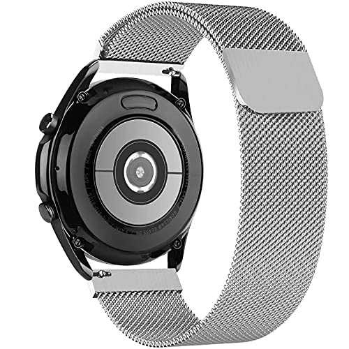 GBPOOT 20mm Metal Correa Compatible con Samsung Galaxy Watch Active/Active 2(40/44mm)/Watch 3 41mm/Watch 42mm/Watch 4 Classic/Gear S2,Correa de Malla de Acero Inoxidable(20mm Plata)