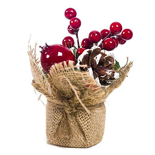 �rbol de Navidad en miniatura de con bayas decoración de cono de pino Adorno de mesa navideña Balight