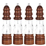 TIGOWL Macinapepe antico macinapepe in legno massello e bottiglia acrilica Meccanismo di macinazione a mano in ceramica Macinapepe per spezie Mulini per barbecue da cucina