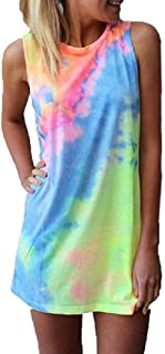 BKTOPS Colorful Tie Dye Twist Mini Dress Women's Sleeveless T Shirt Dress Tie-dye Tank Mini Dress