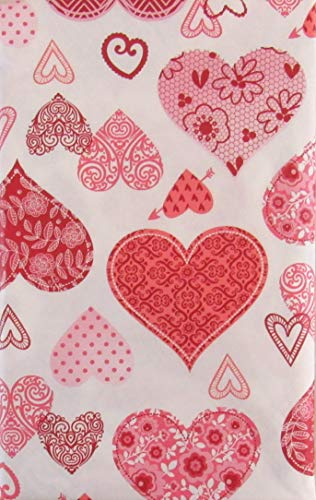 Valentine's Day Red and Pink Decorative Hearts Collage Vinyl Flannel Back Tablecloth (52' x 90' Oblong)