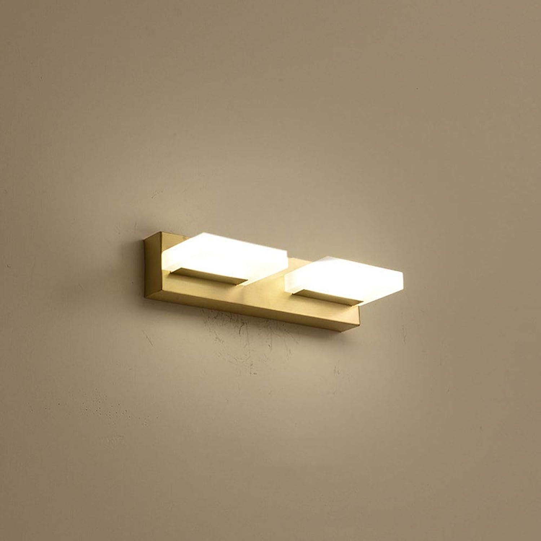 SXFYWYM LED Spiegelleuchte Retro Wandleuchte Badezimmer Einfache Spiegel Kabinett Lichter Schminktisch Schlafzimmer Beleuchtung,Gold,25x6cm
