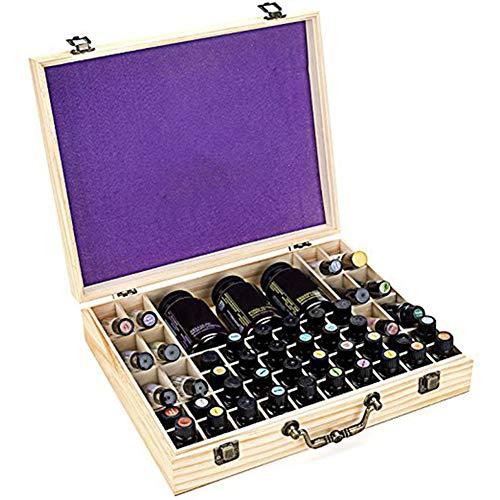 ECOSWAY 68 ranuras de madera de bambú para botellas de aceite esencial, caja de almacenamiento portátil, caja de almacenamiento de madera para aceites esenciales, protege botellas y bolas de rodillo