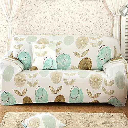 PPOS Funda de sofá elástica Universal, sofá seccional, sillón, Funda para Muebles, pájaros Florales, Hojas A11, sofá de Dos plazas 145-185cm-1pc