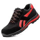 FREEUP Zapatillas de Seguridad Deportivos Ligeros Unisex Calzado de Seguridad Hombre Trabaja con Tus pies Bien protegidos,Black,42EU