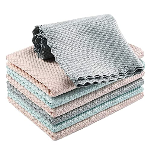 QAZX 7Pcs Mixed Colors 2021 New Fish Scale Microfibe Polishing Cleaning Cloth, Super Absorbent Double-Sided Design Reusable Towel Wipes (30cm x 30cm)
