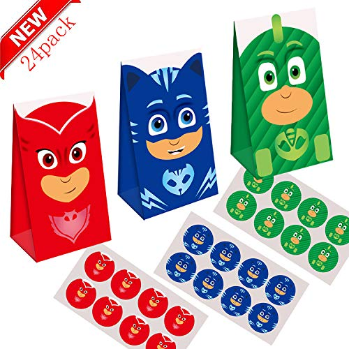 24pcsMask little hero party supplies bag, party decoration supplies, Mask little hero party supplies delicious candy bags, party girls kids, pj party birthday