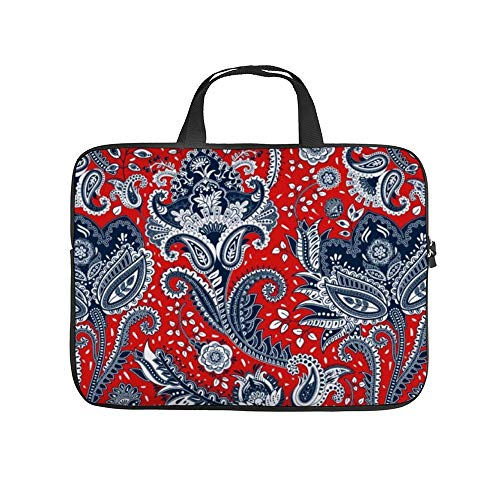 Red White & Blue Floral Paisley 10InchLaptopSleeveCaseProtectiveCoverCarryingBagfor9.7'10.5'IpadProAir/10'MicrosoftSurfaceGo/10.5'SamsungGalaxyTab