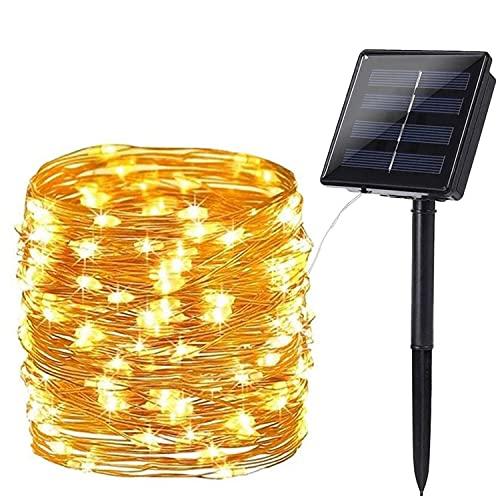 Solar Lichterkette Aussen, BrizLabs 24M 240 LED Außen Lichterkette Wasserdicht Kupferdraht Solarlichterkette 8 Modi Deko für Weihnachten Garten, Balkon, Terrasse, Bäume, Hochzeit, Party, Warmweiß