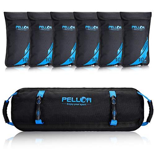 PELLOR Sandbag, Saco Peso Fitness Saco de Arena para Entrenamiento de 4.5-27 kg, Bolsa de Arena con 6 Bolsas Ajustables para Fitness Funcional y Potenciamiento Muscular