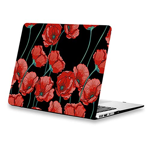 MacBook Air 13.3 Inch Case Floral, Poppy Flower Rubberized Soft-Touch Protective Hard Shell Case Cover Model A1369/A1466 2010-2017 with Keyboard Cover