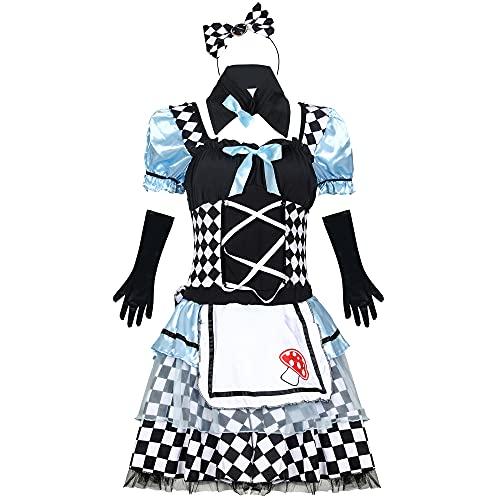 DFGDF Alicia en el país de Las Maravillas Cosplay Disfraz de mucama Sexy Halloween Lotia Uniforme de Cintura Alta Guantes Trajes Mujeres Adultas Traje de Fiesta