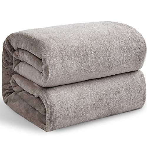 Hansleep Flauschige Flanell-Fleece Überwurfdecken Doppelgröße 150x200cm - Ultra Weich und Warm Bettdecke Microfaser für Sofa und Couch, Taupe