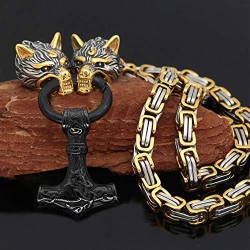 QZY Collar de Acero de Titanio sólido para Hombres Vikingos, Cadena de Rey Cuadrada de Oro y Plata...