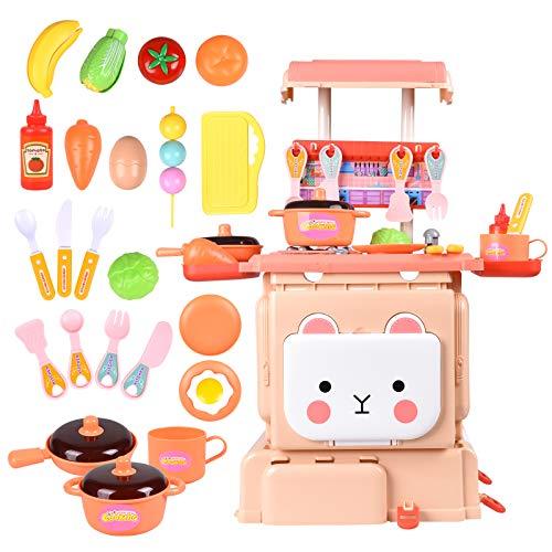 L-Athna おままごと キッチンセット ままごと 豪華セット 収納可能 調理器具 野菜切れ ごっこ遊び ランドセル玩具 誕生日 クリスマスプレゼント おもちゃ (ピンク)