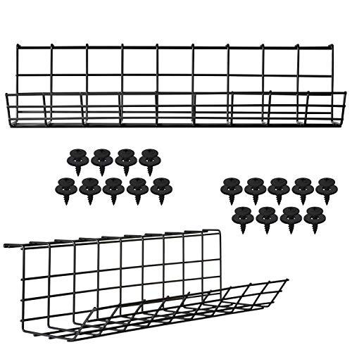 Kabelmanagement für unter den Schreibtisch – Kabelhalter für Kabelmanagement unter dem Schreibtisch. Super stabile Schreibtisch Kabelablage. Perfektes Stehpult-Kabelmanagement (Schwarz – 2er-Set 43cm)