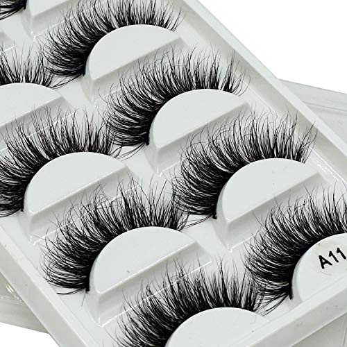Mink Eyelashes-3D Mink Lashes Pack Luxurious Dramatic Messy Volume Fluffy Long Wispies Eye Lashes Sets 5 Pairs/Box (A11)