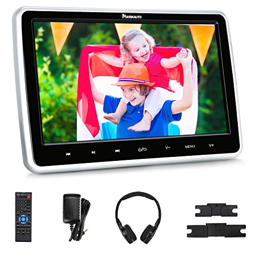 NAVISKAUTO 10.1' Car DVD Player with Wireless Headphone Support HDMI Input, 1080P Video, Sync Screen, AV Out & in, FM IR, Last Memory, USB SD