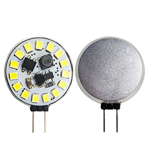Ruiandsion - 2 bombillas LED G4 de 10 a 30 V con base bimetálica, superbrillantes, 2835, 15SMD, para RV Camper, luces de paisaje, luces de gabinete de lectura